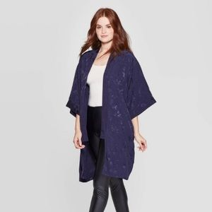 A NEW DAY Floral Print Kimono Navy - Cover Up